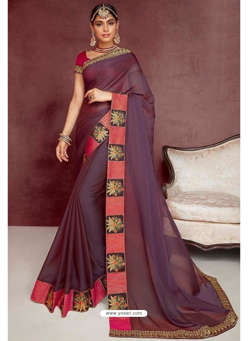 Deep Wine Party Wear Heavy Embroidered Sari