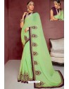 Green Party Wear Heavy Embroidered Sari