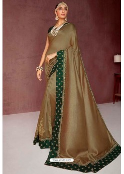 Camel Party Wear Heavy Embroidered Sari