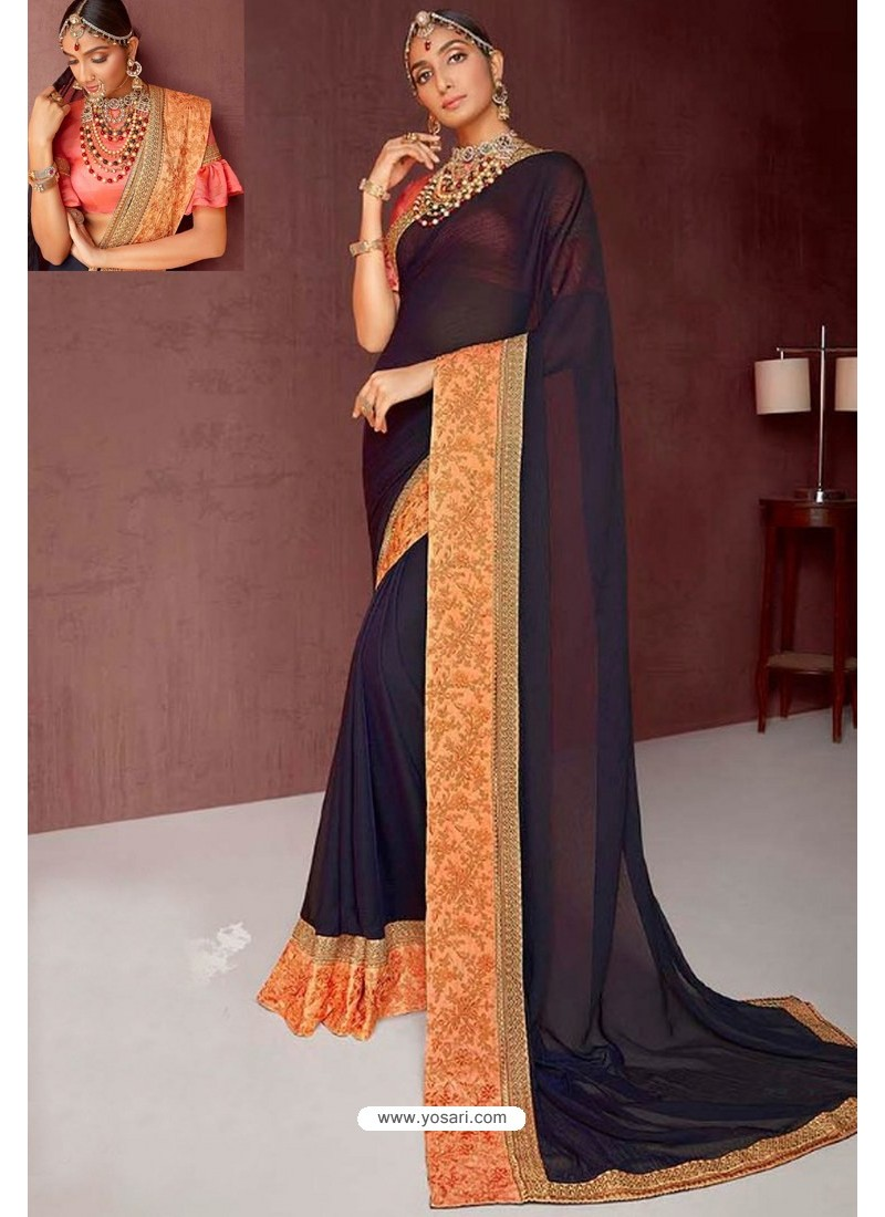 Navy Blue Party Wear Heavy Embroidered Sari