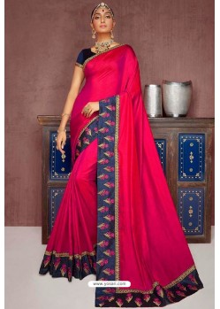 Rose Red Party Wear Heavy Embroidered Sari