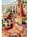 Cream Heavy Embroidered Designer Pure Georgette Sari