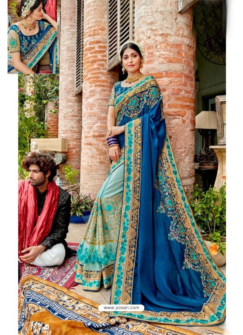 Dark Blue Heavy Embroidered Designer Pure Georgette Sari