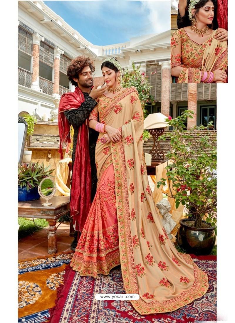 Peach Heavy Embroidered Designer Pure Georgette Sari