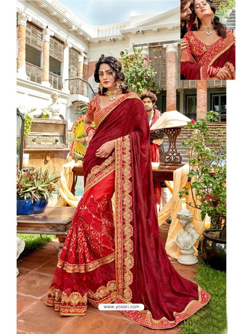 Maroon Heavy Embroidered Designer Pure Georgette Sari