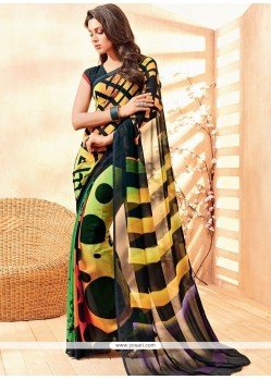 Multi Colour Lace Work Georgette Casual Saree