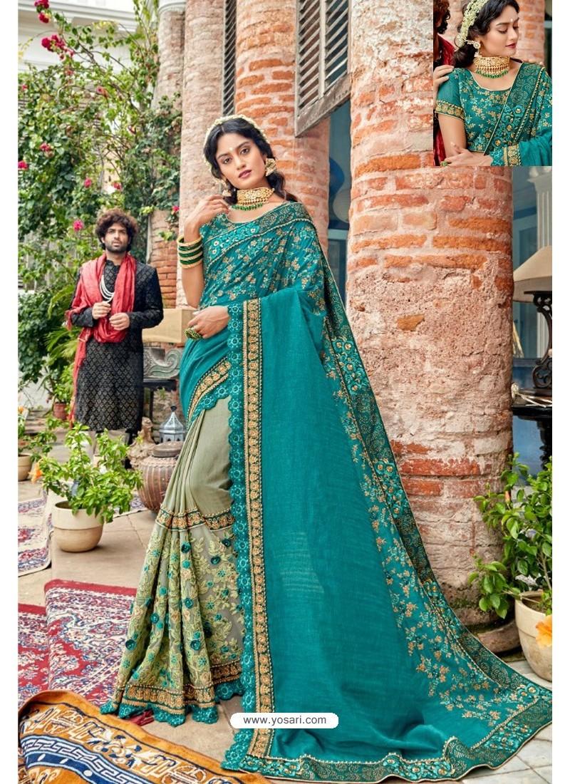 Blue Heavy Embroidered Designer Pure Georgette Sari