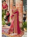 Pink Heavy Embroidered Designer Pure Georgette Sari
