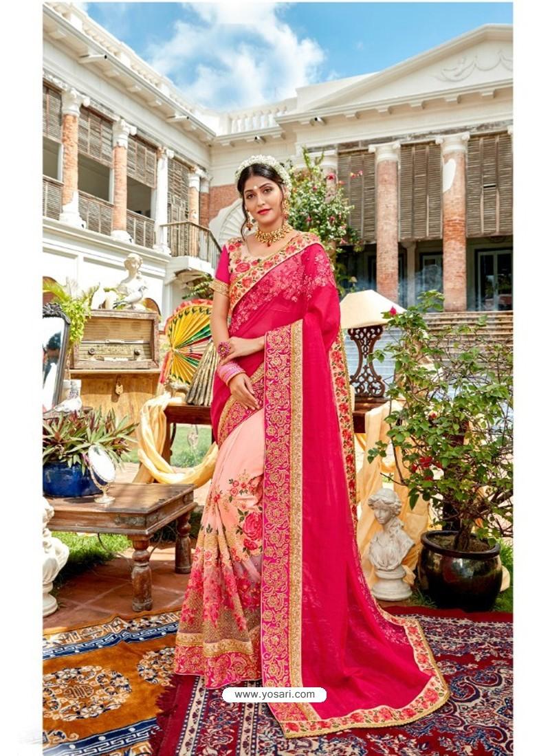 Fuchsia Heavy Embroidered Designer Pure Georgette Sari