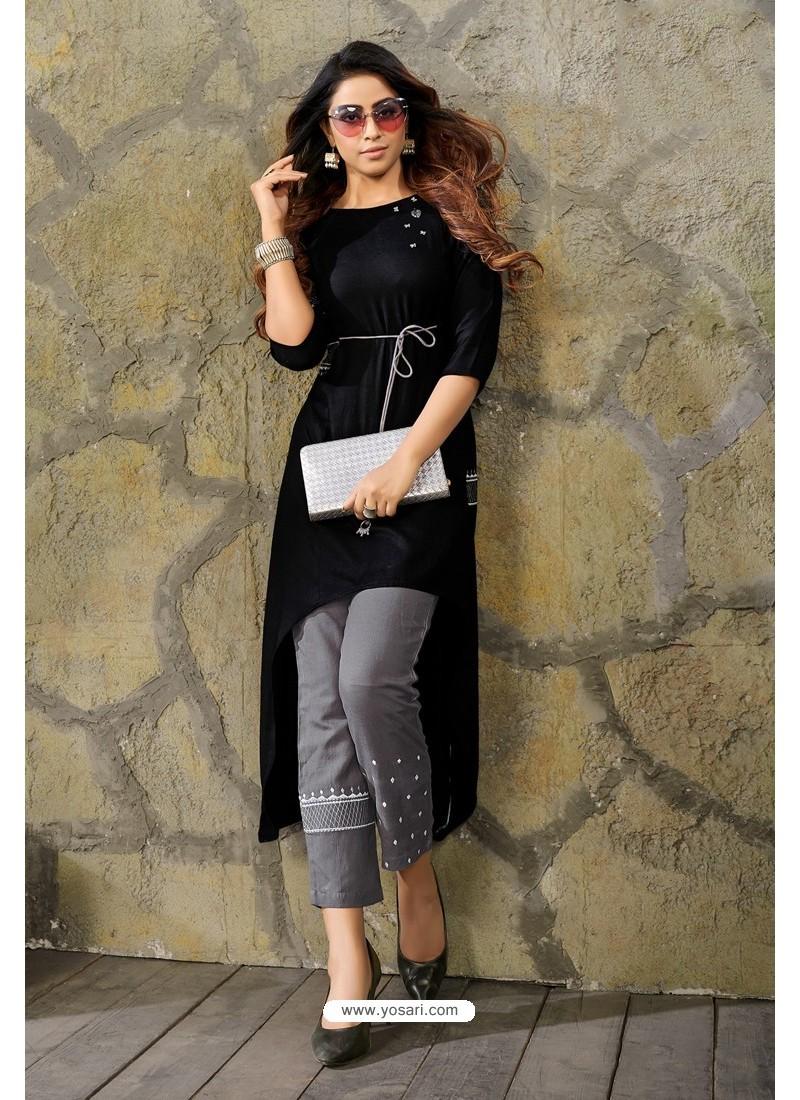 Black Heavy Party Wear Rayon Readymade Kurti With Palazzo