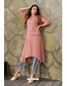 Old Rose Heavy Party Wear Rayon Readymade Kurti With Palazzo
