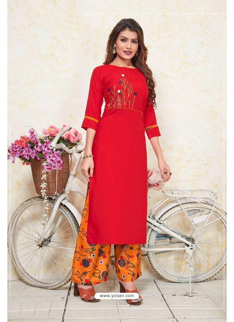 Red Heavy Party Wear Rayon Readymade Kurti With Palazzo