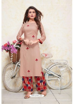 Dusty Pink Heavy Party Wear Rayon Readymade Kurti With Palazzo