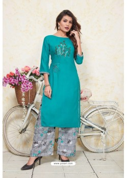 Turquoise Heavy Party Wear Rayon Readymade Kurti With Palazzo
