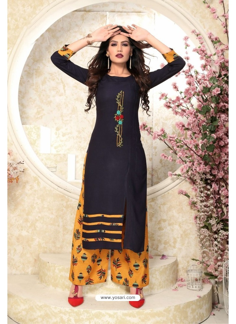 Navy Blue Heavy Party Wear Rayon Readymade Kurti With Palazzo