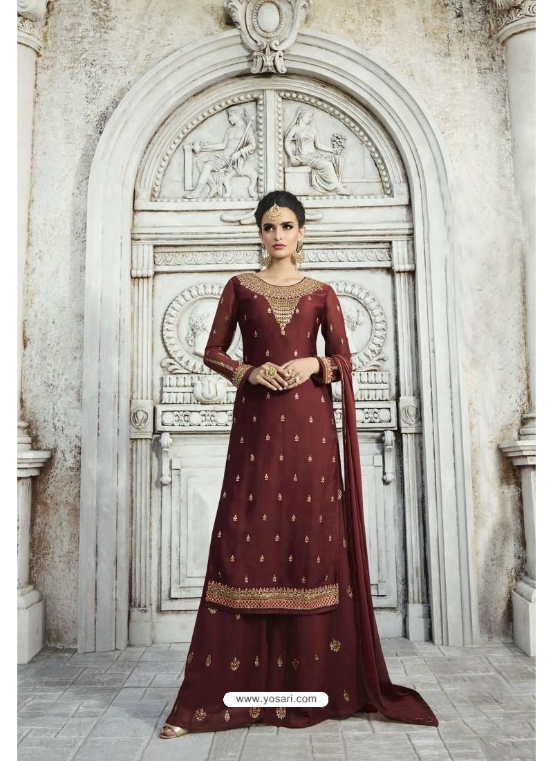 Maroon Designer Party Wear Satin Georgette Palazzo Salwar Suit