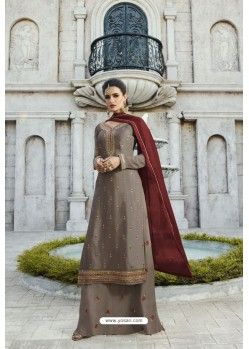Taupe Designer Party Wear Satin Georgette Palazzo Salwar Suit