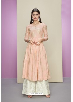Baby Pink Heavy Party Wear Cotton Satin Readymade Kurti With Palazzo