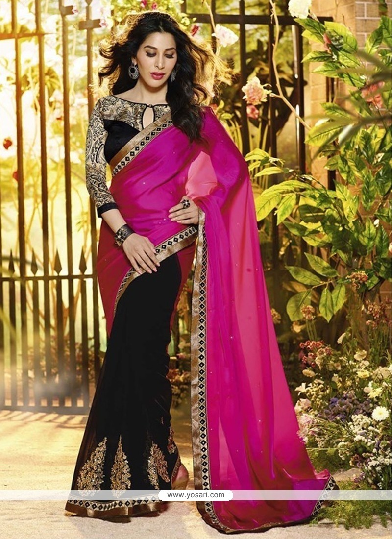 Magenta And Black Satin Georgette Saree