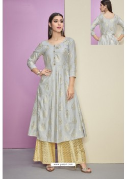 Silver Heavy Party Wear Cotton Satin Readymade Kurti With Palazzo