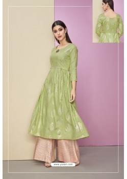 Green Heavy Party Wear Cotton Satin Readymade Kurti With Palazzo
