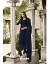 Navy Blue Embroidered Satin Georgette Churidar Salwar Suit
