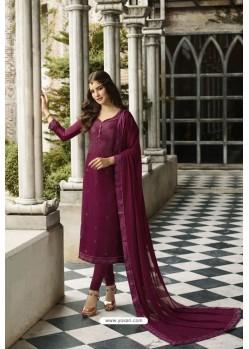 Deep Wine Embroidered Satin Georgette Churidar Salwar Suit