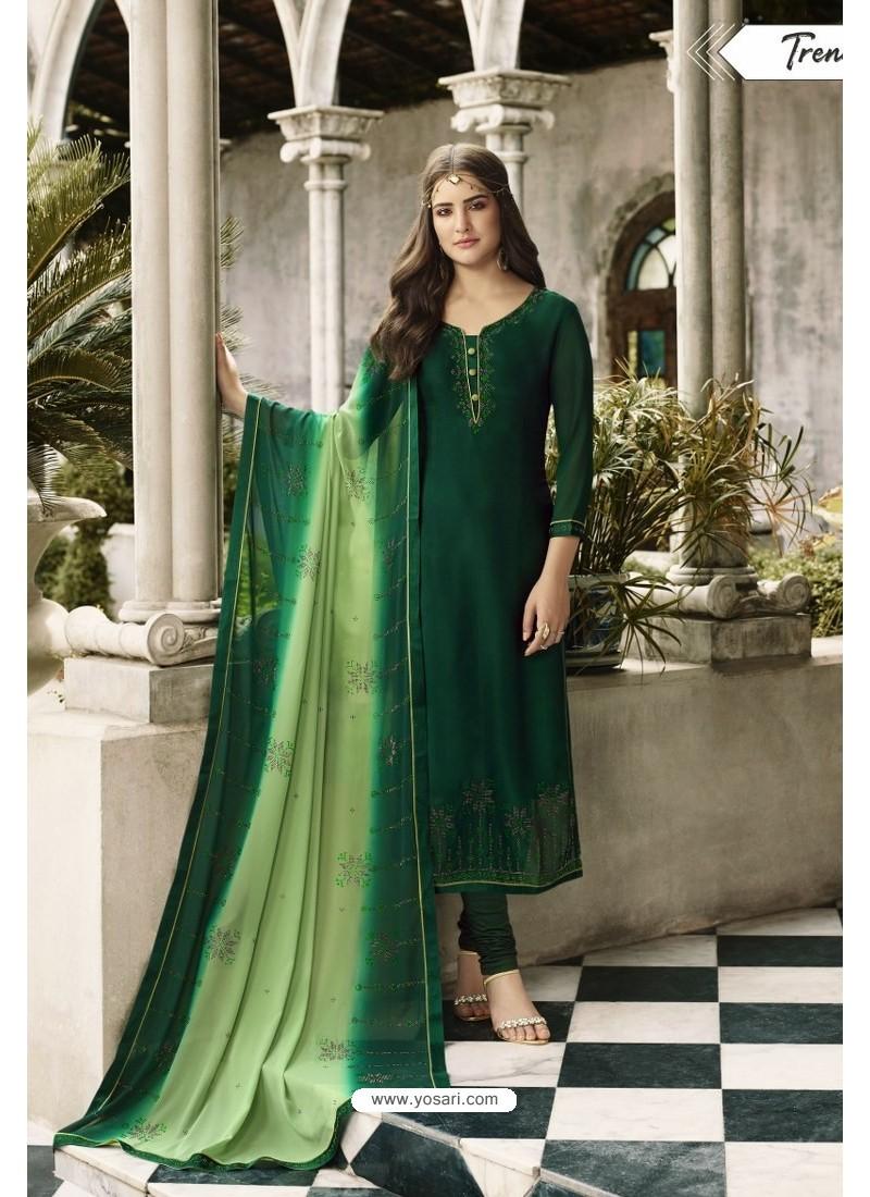 Dark Green Embroidered Satin Georgette Churidar Salwar Suit