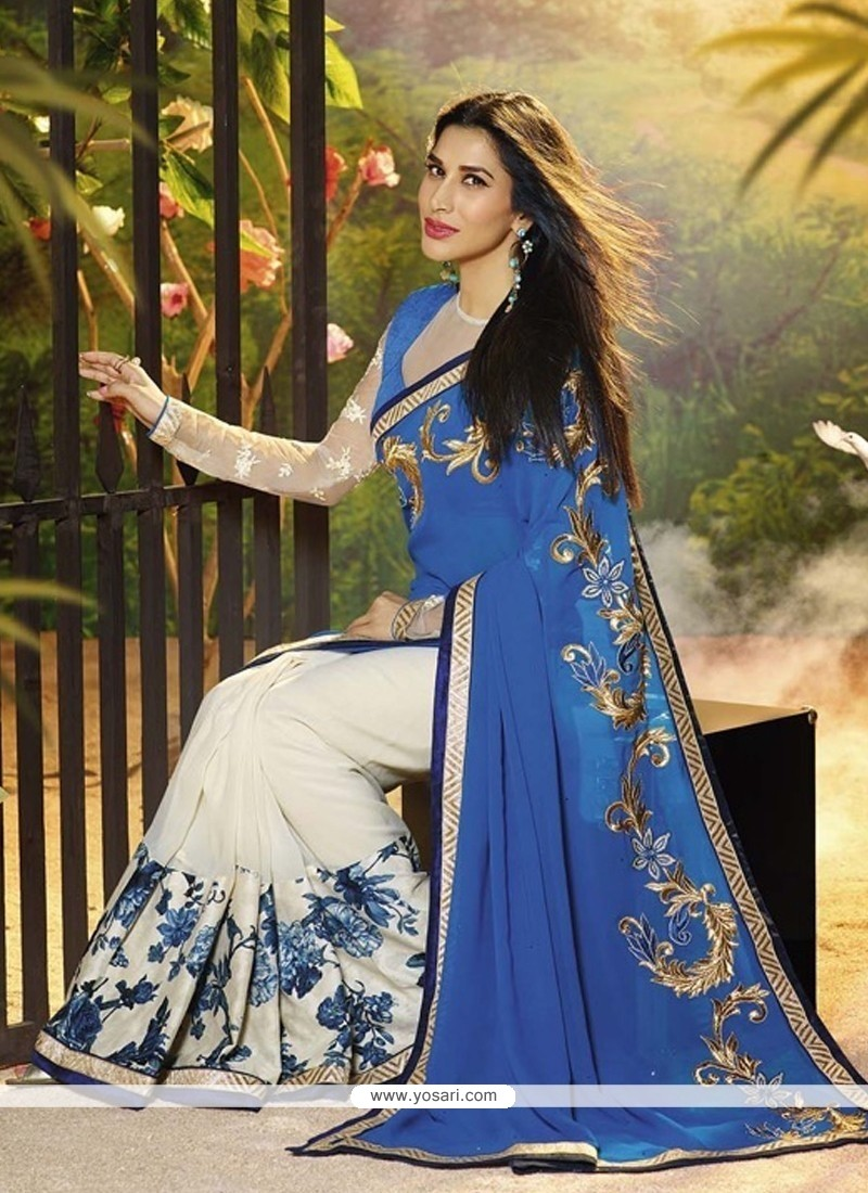 Elite White And Blue Georgette Designer Saree