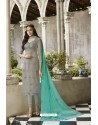 Light Grey Embroidered Satin Georgette Churidar Salwar Suit