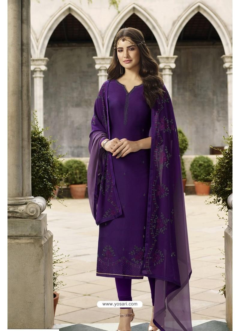 Violet Embroidered Satin Georgette Churidar Salwar Suit