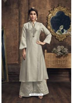 Silver Heavy Party Wear Muga Silk Readymade Kurti With Palazzo