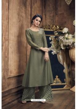 Mehendi Heavy Party Wear Muga Silk Readymade Kurti With Palazzo