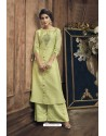 Green Heavy Party Wear Muga Silk Readymade Kurti With Palazzo