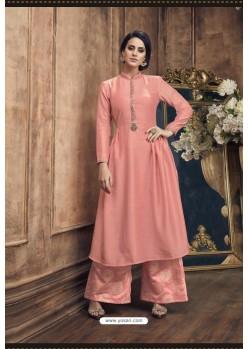 Peach Heavy Party Wear Muga Silk Readymade Kurti With Palazzo
