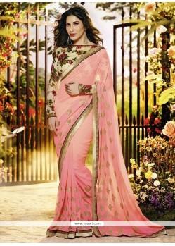 Pleasant Pink Georgette Designer Saree