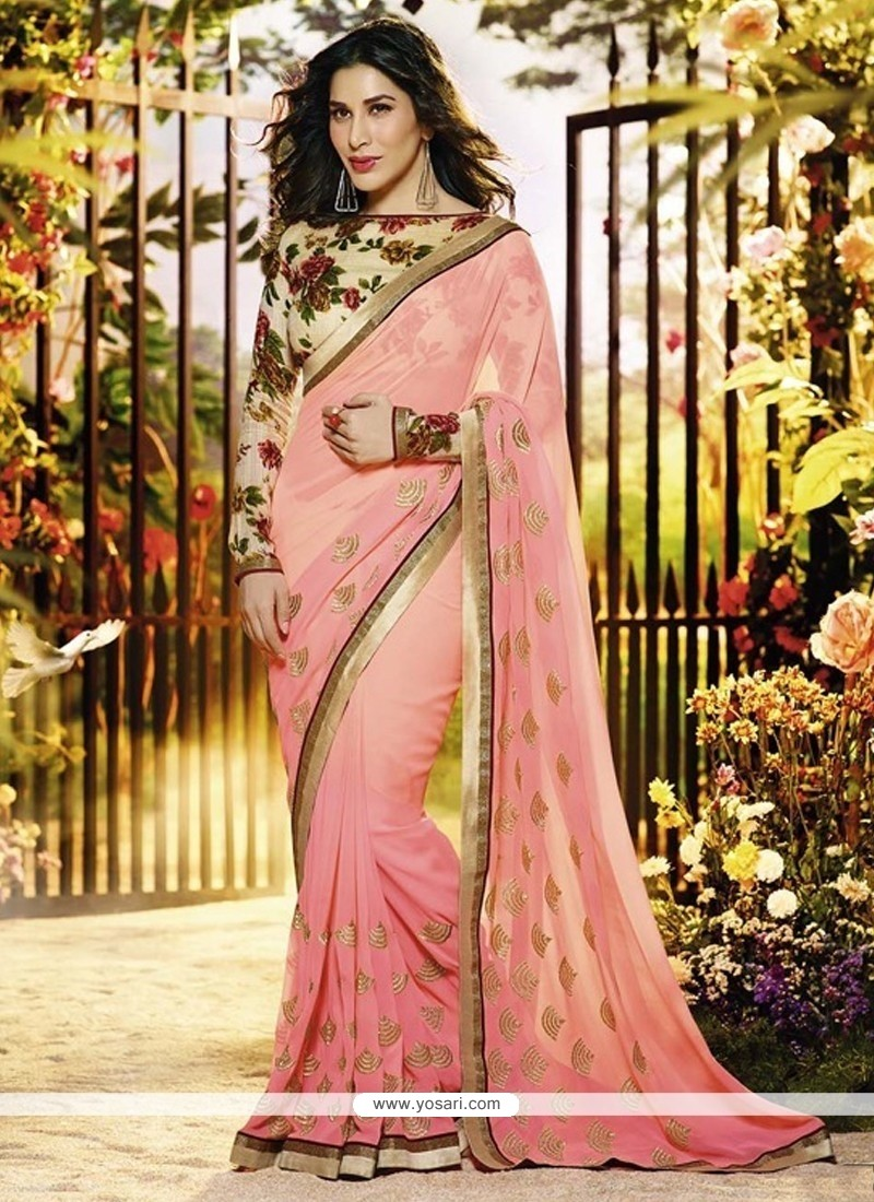 Pleasant Pink Georgette Designer Saree