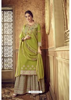 Parrot Green Designer Party Wear Pure Cotton Palazzo Salwar Suit