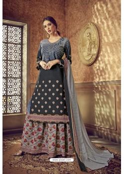 Carbon Designer Party Wear Pure Cotton Palazzo Salwar Suit