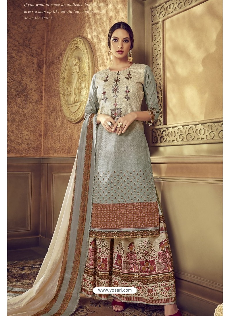Light Grey Designer Party Wear Pure Cotton Palazzo Salwar Suit