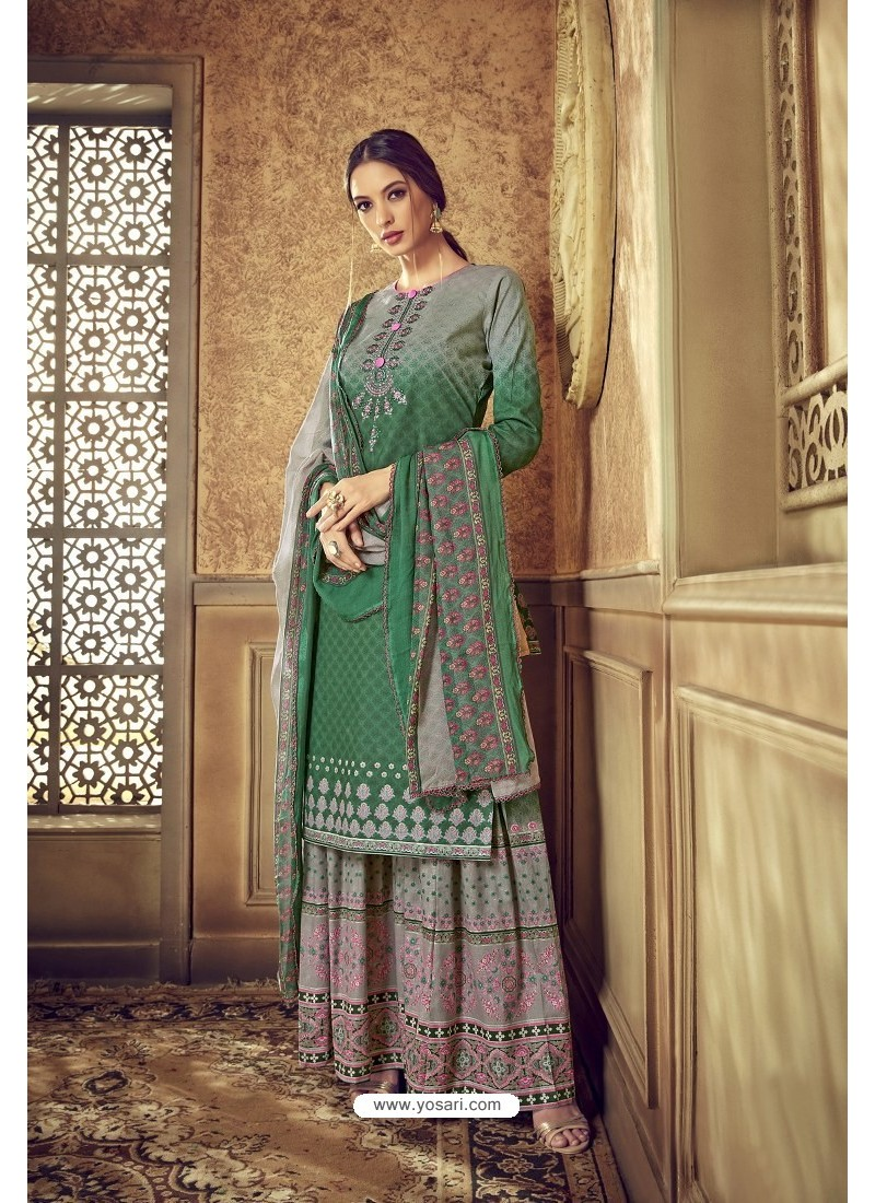 Dark Green Designer Party Wear Pure Cotton Palazzo Salwar Suit