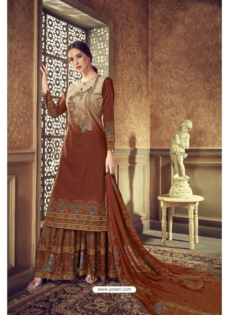 Brown Designer Party Wear Pure Cotton Palazzo Salwar Suit