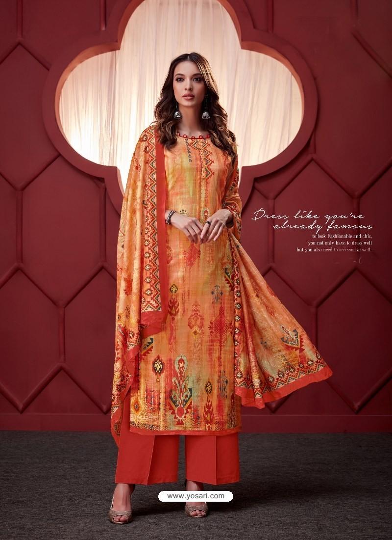 Orange Designer Party Wear Pure Ikat Cotton Silk Palazzo Salwar Suit