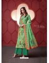 Jade Green Designer Party Wear Pure Ikat Cotton Silk Palazzo Salwar Suit