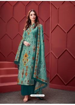 Blue Designer Party Wear Pure Ikat Cotton Silk Palazzo Salwar Suit