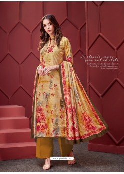 Mustard Designer Party Wear Pure Ikat Cotton Silk Palazzo Salwar Suit