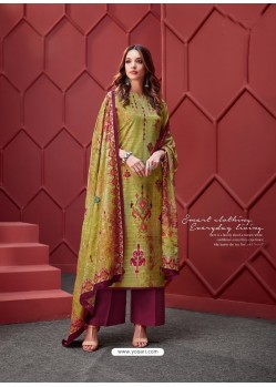 Green Designer Party Wear Pure Ikat Cotton Silk Palazzo Salwar Suit