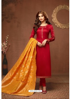 Red Embroidered Pure Cotton Jaam Silk Churidar Salwar Suit
