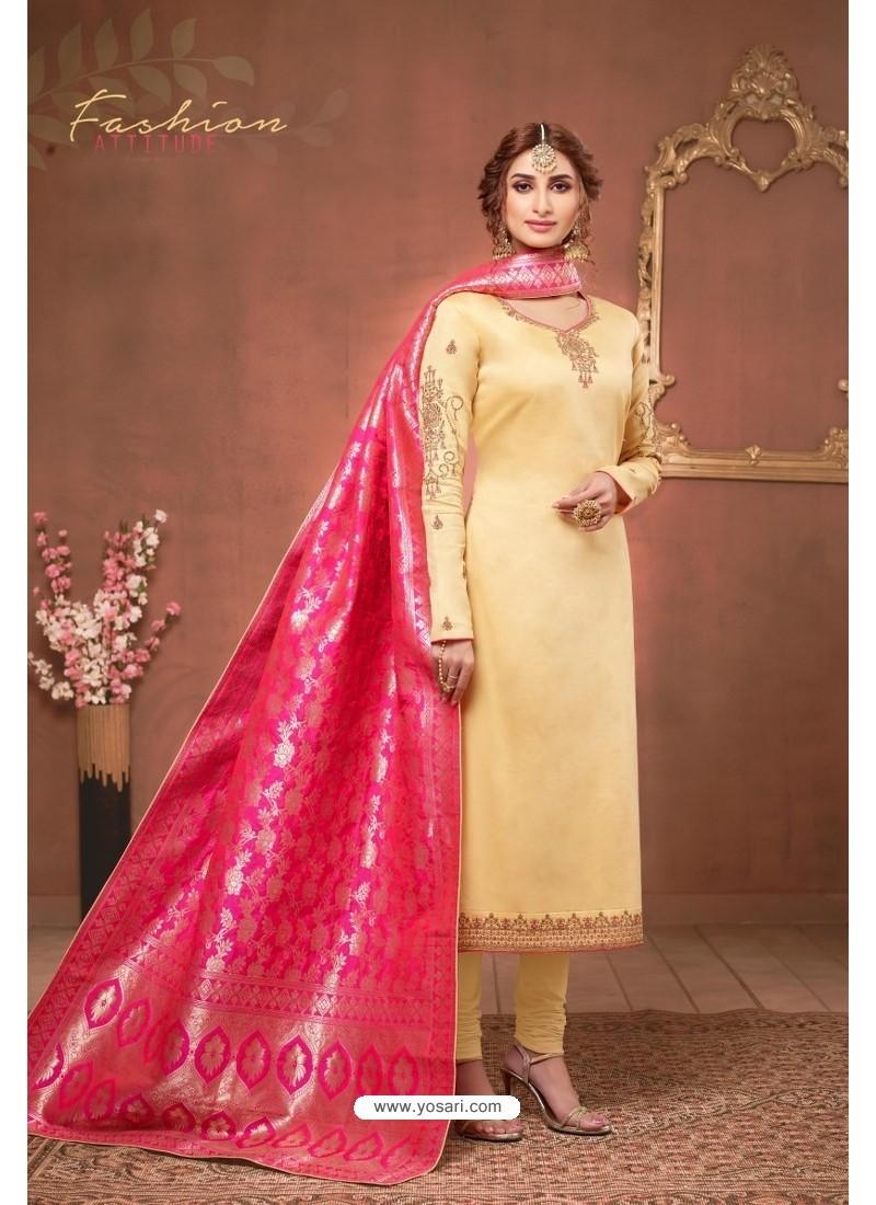 Cream Embroidered Pure Cotton Jaam Silk Churidar Salwar Suit