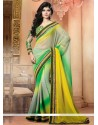 Green And Yellow Shaded Chiffon Designer Saree